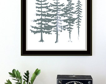 Evergreen Trees Screenprint - Art Print Silkscreen - Red Sun Northwest Forest Poster Woodland Art Print