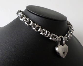 Stainless Steel Chainmaille Padlock Choker - Heavy Duty Locking Chainmail Bdsm Collar