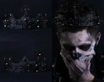 Black Crown, Spiked Crown, Kiss, Gothic headdress, spiked headband, Jesus crown, lady Gaga headpiece, evil crown, custom crown, medieval