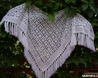 Wedding crochet shawl, lace shawl, knit shawl, festival shawl, triangular shawl, crochet wrap, knit wrap, knit cowl, cover up, ready to ship