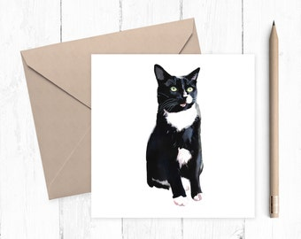 Black and White Cat Blank Greeting Card - black and white cat - cat card - blank card - cat birthday card - ideal for cat lovers