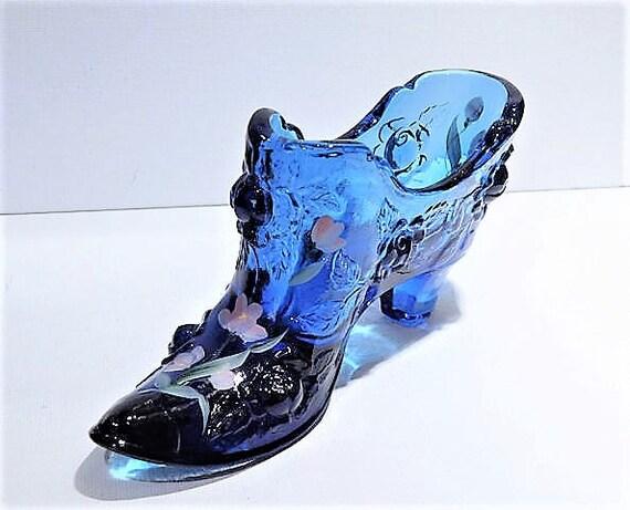 Fenton Glass Shoe / Cobalt / Blue / Cabbage Rose  / Hand Painted