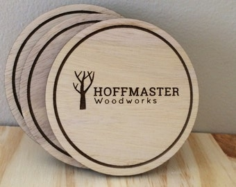 Customizable Wooden Coaster Set - Add Your Own Graphic - Add Your Logo