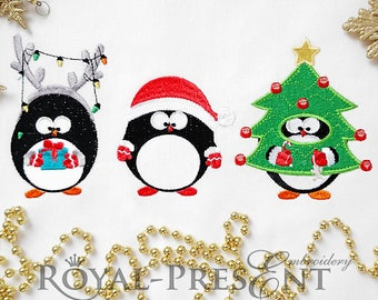 Three Cute Penguins Machine Embroidery Designs