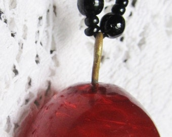 Antique Victorian Black & Cherry Red Glass Bead Mourning Necklace With Carmine Red Pendant OOAK By Susan Every