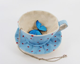 MADE-TO-ORDER ( 1 - 2 Weeks)- Cath kidson Textile Teacup Tidy-Red Spots on Light Blue