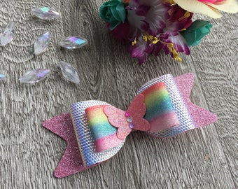 Large Glitter Hair Bow With Butterfly Centre