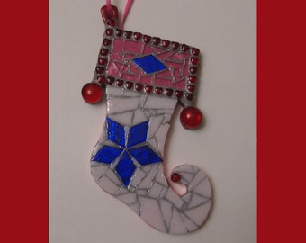 Mosaic Christmas Stocking Ornament Ooak Original Unique Gift