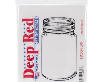 Deep Red Cling Stamps Mason Jar Rubber Stamp