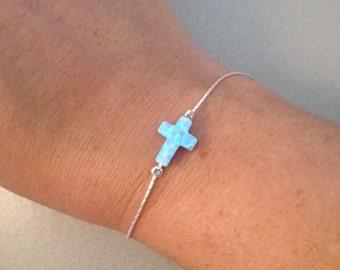 Cross opal bracelet / Sideways cross Fire Blue Opal bracelet / 925 sterling silver braclet / Religious Opal jewelry Charm jewellery
