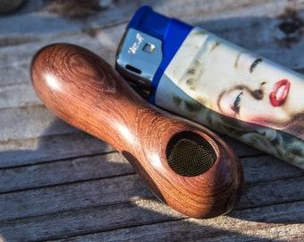 Original Peanut Pipe! Bubinga wood smoking pipe, wood pipe, stash pipe, unique pipe, cool small pipe