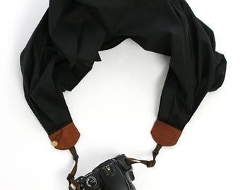 scarf camera strap black cotton lawn - BCSCS106