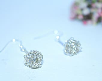 Sterling Silver birds nest earrings