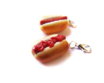 Classic Hotdog Charm, Polymer Clay Hot Dog, Miniature Food Jewelry, Polymer Clay Food Charm, Polymer Clay Hotdog Charm, Mustard Dog Ketchup