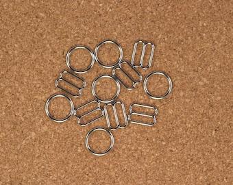 "12 Sets 1/2"" Silver Metal Rings and Sliders Premium Jewelry Quality Bra Adjusters 12mm Bra Making Bramaking"