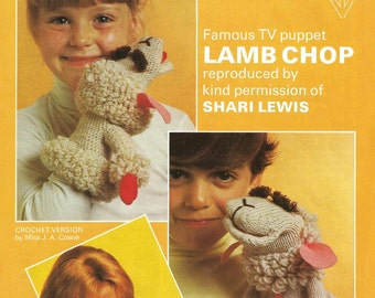Lamb Chop Shari Lewis Vintage 1970s Puppet Toy - PDF knitting and crochet pattern