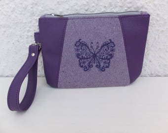 Embroidered Clutch, Embroidered Butterfly, Butterfly Gift Idea, Butterfly Lovers, Detachable Strap Purse, Butterfly Purse, Handcrafted Bag