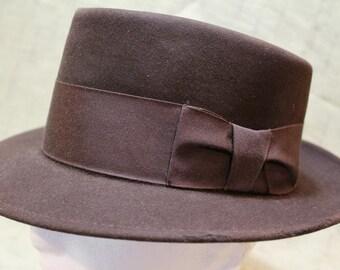 Vintage Penny's Marathon Brown Flat Top Porkpie Fedora Trilby Fur Felt  Men's Hat Size 7