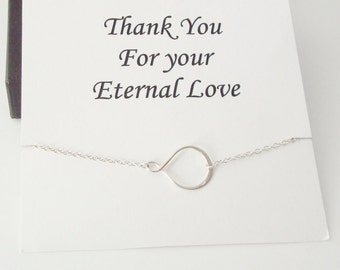 Eternity Infinity Sterling Silver Necklace ~~Personalized Jewelry Gift Card for Mom, Step Mother, Friend, Best Friend, Sister, Bridal Party