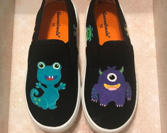 Monster Hand Painted custom Shoes