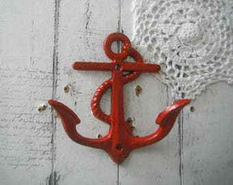 red anchor hook nautical decor beach house decor beach hook rustic decor shabby decor distressed hook clothing hook anchor decor rustic