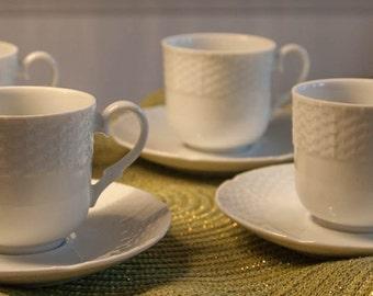 Bianco Toscany Fine China Demitasse Set 4 Cups & Saucers - Fine China, Japan