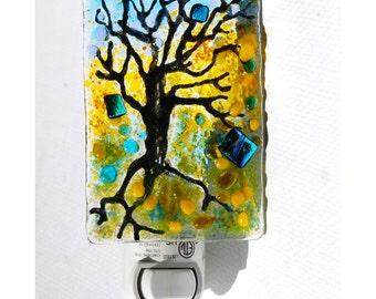 Night light, fused glass, Tree light, wall light, Teal blue green, art glass, glass light, room light, nightlight