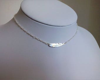 Silver feather necklace chain