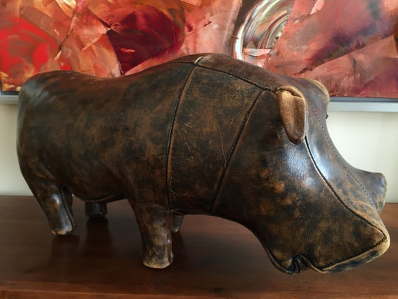 Vintage Dimitri Omersa leather Hippo for Liberty of London and Abercrombie and Fitch.