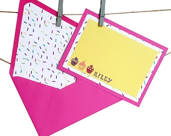 Cupcake Stationery with Lined Envelopes - Sprinkle Stationery - Cupcake Gift - Personalized Stationery - Kids Stationery - 8 or 12 piece set