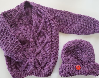 Knitted baby sweater, knitted baby clothes, knit sweater, baby girl clothes, hand knit sweater, Baby shower gift