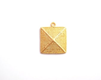 1 pc- Matte Gold plated with rustic, square , dome Charm-32x35mm- (003-007GP)