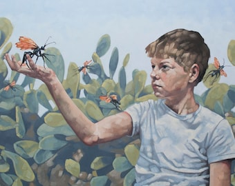 """Original Contemporary Fine Art, Oil Painting of Boy with Tarantula Wasps and Cactus, Modern Southwest Art - """"Mutual Innocence"""""""