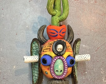 Japanese Oni, saguaro , cactus, wall hanging, ceramic head, baby head