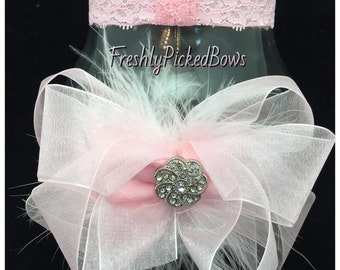 Pink organza double stacked bow with marabou and detachable lace headband