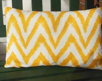 Yellow White Chevron Decorative Throw Pillow Lumbar COVER All Sizes Diva Zig Zag Cushion Cover Couch Pillow Sofa Nursery Pillow Sham Euro
