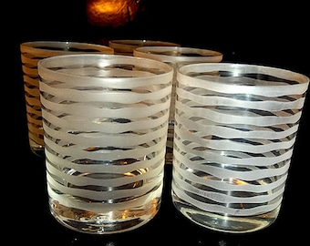 SALE...Horizontal Frosted Rocks / Low Ball Glasses