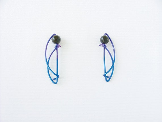 Anodized niobium designer stud earrings, sterling silver, gold filled, CHOICE of BEADS & METAL