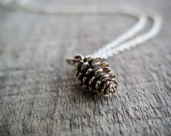 Pinecone Necklace - Bronze and 14k Gold Fill - Nature Jewelry - Simple Charm - Available in Sterling Silver Also