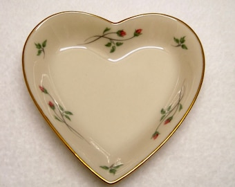 Rose Manor Heart Shaped Trinket/Jewelry Dish - Lenox China Trimmed in 24K Gold.