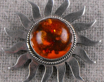 Vintage Amber Sun with Sterling Silver Rays Brooch