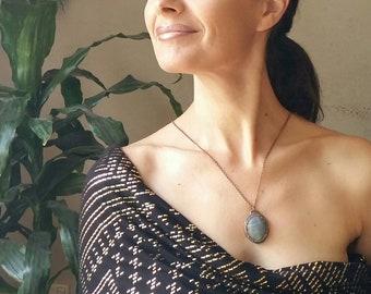 Labradorite electroformed copper necklace