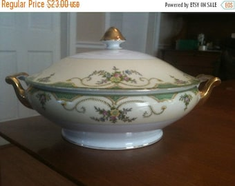 Morimura Brothers China Casserole Dish with Double Handles Tureen c1930s
