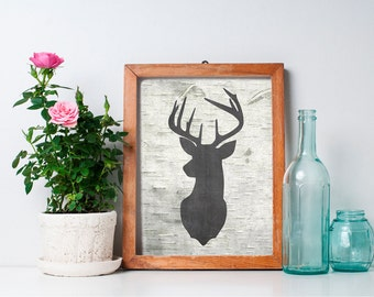 Deer Head - 8x10 Printable Art, Rustic Decor, Deer Print, Wall Art, Antler, Deer Head, Rustic Home Decor, Hunting Decor