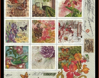 Vintage style stamps, paper napkins, lot of four pieces to use for decoupage, tissue paper, decoupage napkins