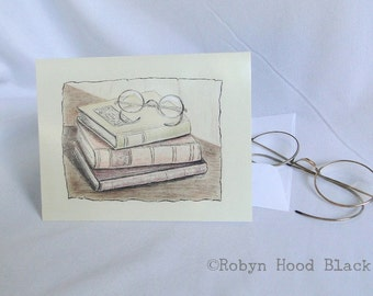 Vintage Books with Reading Glasses Note Cards - package of 8