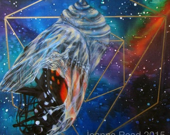 "Panel II of III of ""Quest"" Triptych, Chrysalis Galaxy Sacred Geometry Artwork"