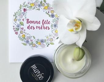Fête des mères signé Mamzelle Victoria•Chandelle de soya fait main et une carte•Chandelle estivale colorée•Bougie pour détente•Printemps/été