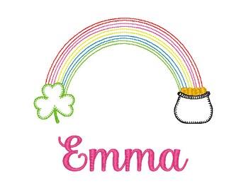 St Patrick's Day Lucky Rainbow Applique, Clover Applique, Shamrock Applique, Pot of Gold Applique Boy St Patrick's, Girl St. Patrick's Tee