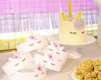 Unicorn party hat // unicorn crown // unicorn favor // unicorn birthday party // unicorn horn hat // headpiece